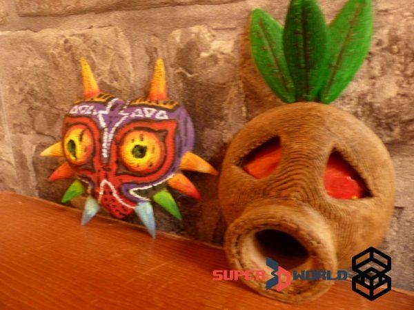 Masque Mojo et masque Majora (Zelda) en bois