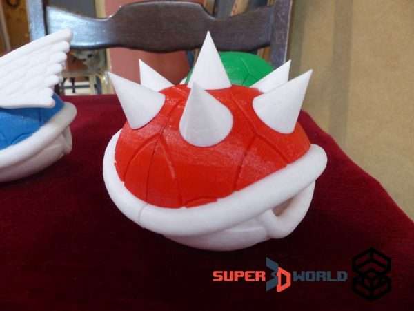 3D printed red spiked Koopa Shell (Mario Kart)